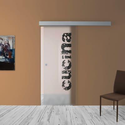 Porta scorrevole con binario esterno Cucina in vetro Kit A L 88 x H 215 cm