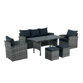 Set Berga : tavolo, divano 3 posti, 2 poltrone, 2 pouf con cuscino grigio