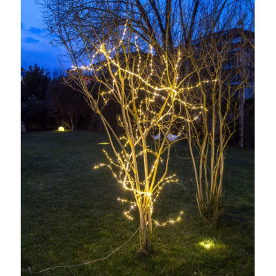 Ramo bianco luminoso 504 minilucciole Led classica gialla H 300 cm
