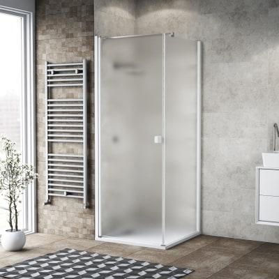 Doccia con porta battente e lato fisso Neo 69 - 71 x 77 - 79 cm, H 200 cm vetro temperato 6 mm bianco opaco