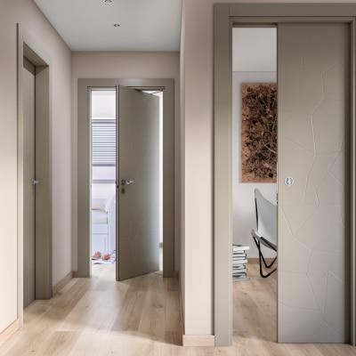 Porta da interno battente The Thing grigio 60 x H 210 cm sx