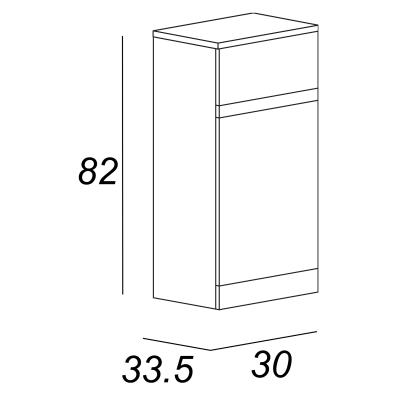 Semicolonna Elise rovere 1 anta, 1 cassetto L 30 x H 82 x P 33,5 cm