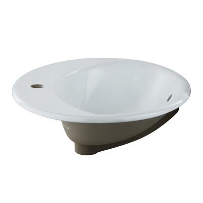 Lavabo da appoggio ovale Bjoux L 56 x P 47 x H  15 cm bianco