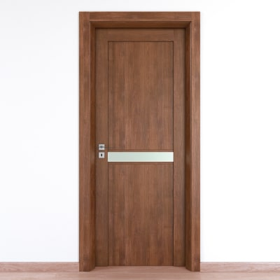 Porta da interno battente Spyhole nut larice noce 80 x H 210 cm dx