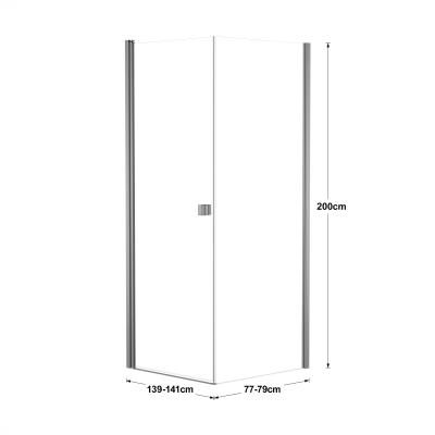Doccia con porta battente e lato fisso Neo 99 - 101 x 77 - 79 cm, H 201,7 cm vetro temperato 6 mm trasparente/silver