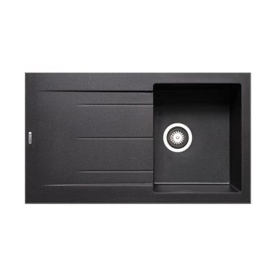 Lavello incasso Alazia nero L 86 x P  50 cm 1 vasca + gocciolatoio