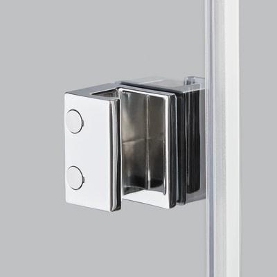 Doccia con porta battente e lato fisso Neo 89 - 91 x 77 - 79 cm, H 200 cm vetro temperato 6 mm serigrafato/nero