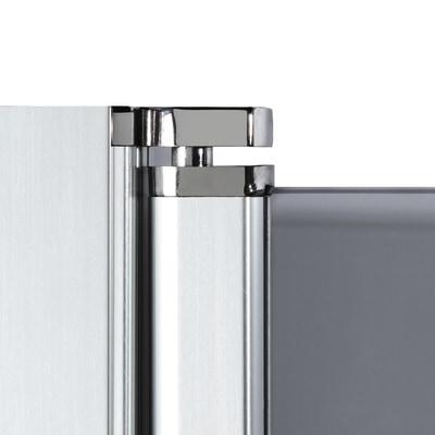 Doccia con porta battente e lato fisso Neo 99 - 101 x 77 - 79 cm, H 200 cm vetro temperato 6 mm silver