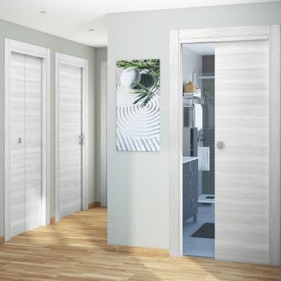 Porta da interno scorrevole Pigalle palissandro bianco 60 x H 210 cm reversibile