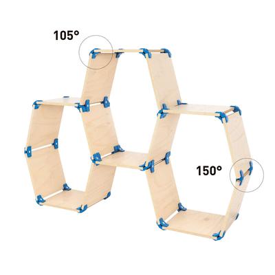 Connettore a 105° per unire pannelli in legno in pvc blu confezione 4 pezzi