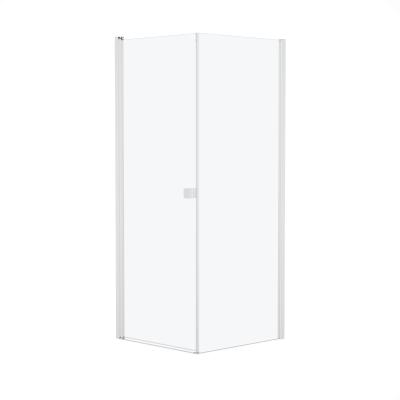 Doccia con porta battente e lato fisso Neo 73 - 75 x 77 - 79 cm, H 200 cm vetro temperato 6 mm bianco opaco