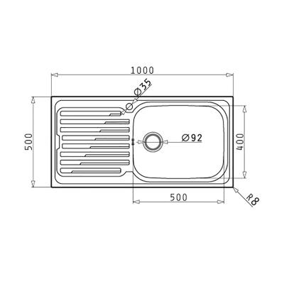 Lavello incasso Amaltia Plus L 100 x P  50 cm 1 vasca DX + gocciolatoio