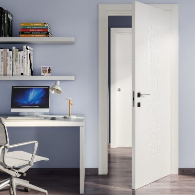 Porta da interno rototraslante Keyboard white bianco 80 x H 210 cm sx