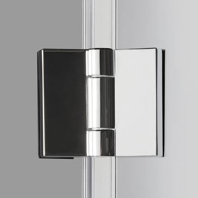 Doccia con porta pieghevole e lato fisso Neo 77 - 81 x 77 - 79 cm, H 201,7 cm vetro temperato 6 mm trasparente/silver