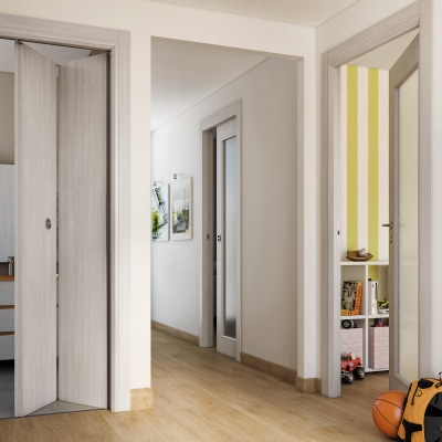 Porta da interno battente Brooklyn frassino bianco 80 x H 210 cm reversibile