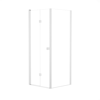 Doccia con porta pieghevole e lato fisso Neo 72 - 76 x 77 - 79 cm, H 201,7 cm vetro temperato 6 mm trasparente/bianco opaco