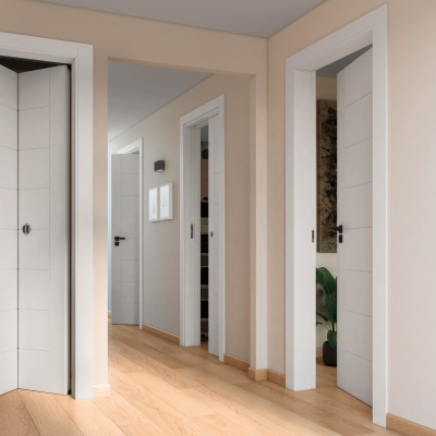Porta da interno rototraslante Chamberì bianco 80 x H 210 cm dx