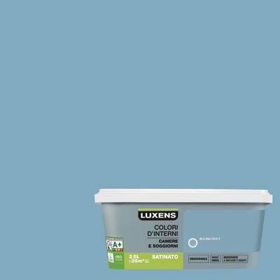 Idropittura superlavabile Smacchiabile Blu Baltico 3 - 2,5 L Luxens