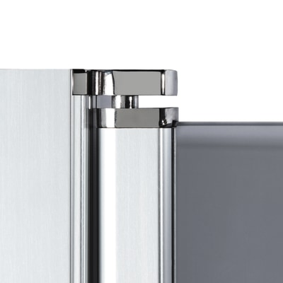 Doccia con porta battente e lato fisso Neo 67 - 69 x 77 - 79 cm, H 200 cm vetro temperato 6 mm trasparente/silver