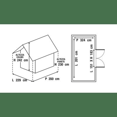 casetta in Duo Tech (polipropilene e polvere di cemento) Oakland 7511 Keter 6,5 m²
