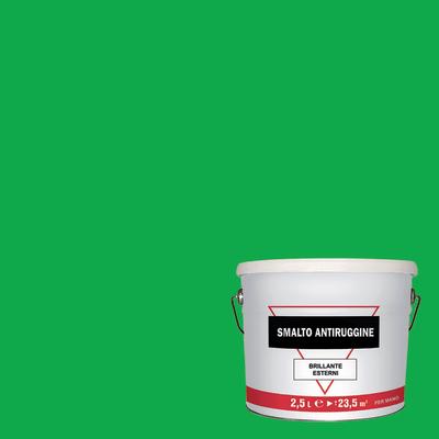 Smalto per ferro antiruggine verde brillante 2,5 L