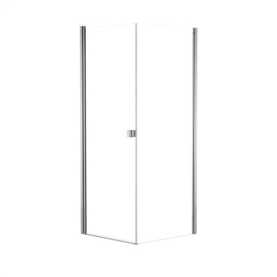Doccia con porta battente e lato fisso Neo 97 - 99 x 77 - 79 cm, H 201,7 cm vetro temperato 6 mm trasparente/cromo PVD
