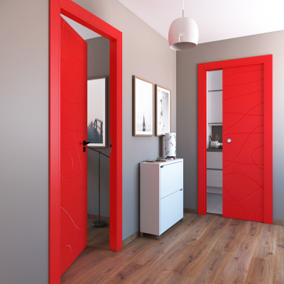 Porta da interno scorrevole Wind red rosso 70 x H 210 cm reversibile