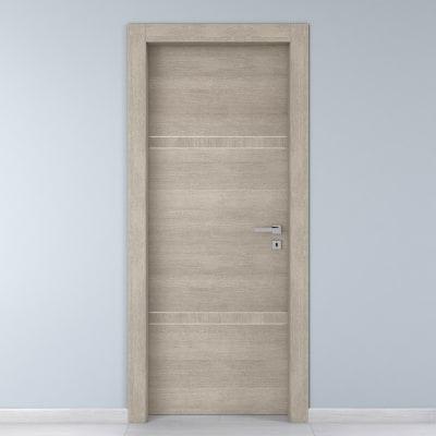 Porta da interno battente Chasing rovere chiaro 80 x H 210 cm sx