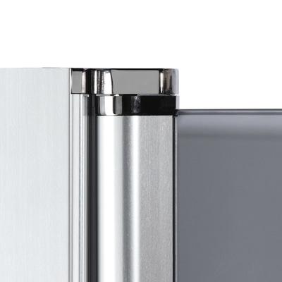 Doccia con porta saloon e lato fisso Neo 87 - 91 x 77 - 79 cm, H 200 cm vetro temperato 6 mm trasparente/silver