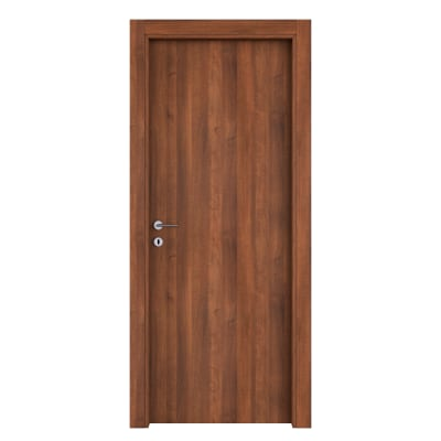 Porta da interno battente One walnut noce 70 x H 210 cm reversibile