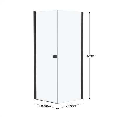 Doccia con porta battente e lato fisso Neo 91 - 93 x 77 - 79 cm, H 200 cm vetro temperato 6 mm cromo PVD