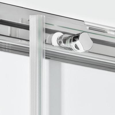 Doccia con porta scorrevole e lato fisso Neo 132 - 136 x 77 - 79 cm, H 200 cm vetro temperato 6 mm trasparente/silver