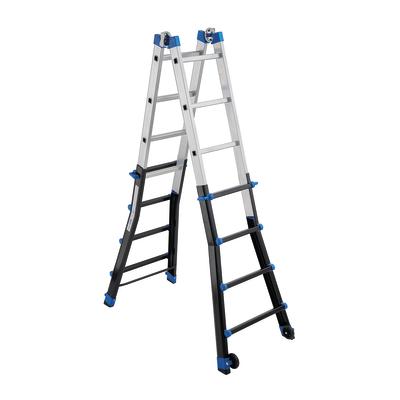 Scala telescopica alluminio Gierre 4+4 gradini, per lavori fino a 5 m