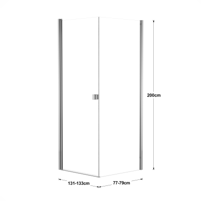 Doccia con porta battente e lato fisso Neo 91 - 93 x 77 - 79 cm, H 200 cm vetro temperato 6 mm trasparente/cromo PVD