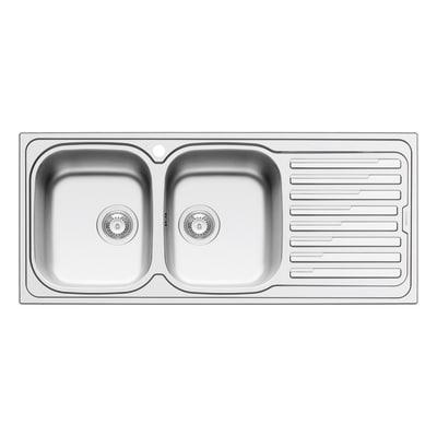 Lavello incasso Amaltia Dekor L 116 x P  50 cm 2 vasche SX + gocciolatoio
