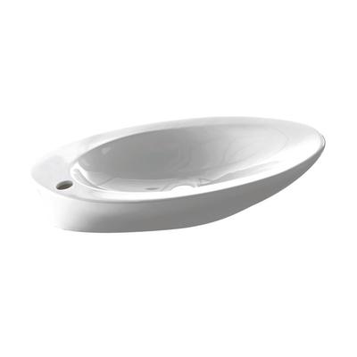 Lavabo da appoggio ovale Pure L 52 x P 37 x H  11,5 cm bianco