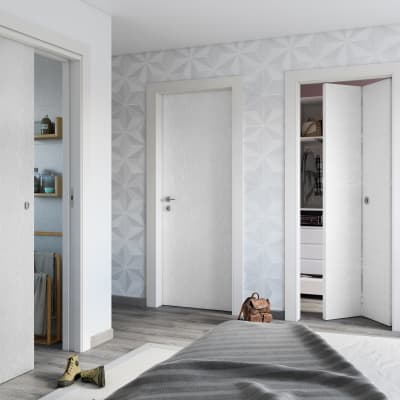 Porta da interno battente Hunk cemento calce 70 x H 210 cm dx