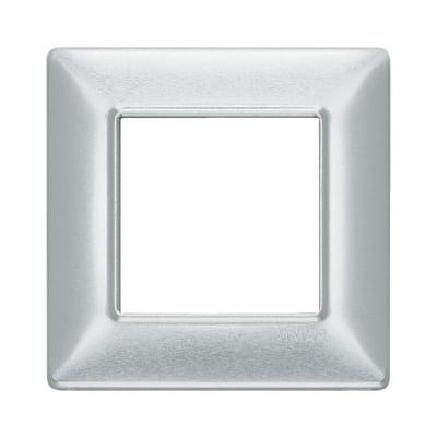 Placca 2 moduli Vimar Plana alluminio spazzolato
