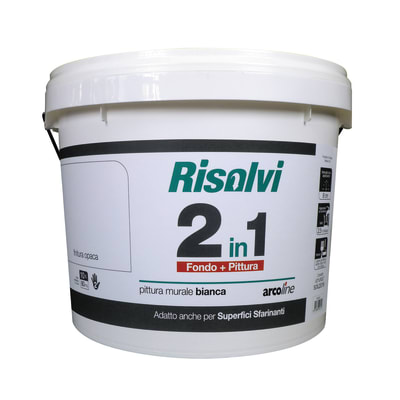 Idropittura lavabile bianca Arcoline 2in1 10 L