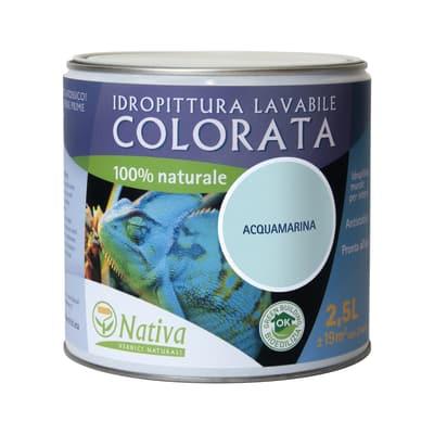 Idropittura lavabile Bio acquamarina 2,5 L Nativa