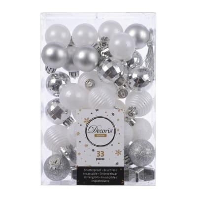 Box pendenti assortiti bianchi - argento 4 cm
