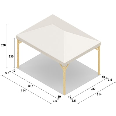Gazebo Nikko copertura bianca 4,14 x 3,14 m