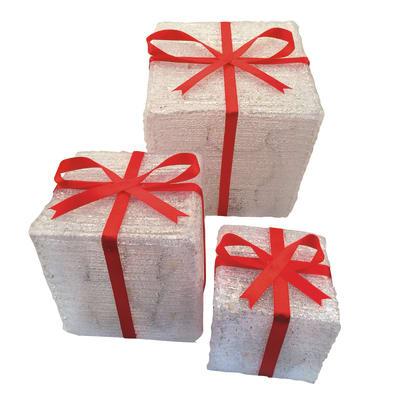 Set 3 pacchi regalo luminosi 72 Led Bianco/classic L 19,5 x P 19,5 x H 19,5 cm