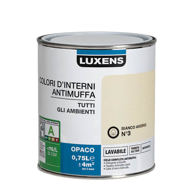 Idropittura lavabile Antimuffa Bianco Avorio 3 0,75 L Luxens