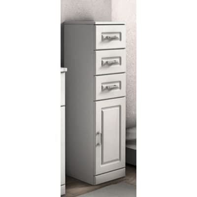 Semicolonna Paola bianco 1 anta, 3 cassetti L 30 x H 112 x P 33,5 cm