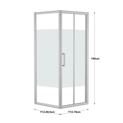 Doccia con porta pieghevole e lato fisso Quad 77.5 - 80,5 x 77.5 - 79 cm, H 190 cm cristallo 6 mm serigrafato/silver