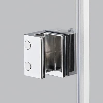 Doccia con porta battente e lato fisso Neo 67 - 69 x 77 - 79 cm, H 200 cm vetro temperato 6 mm trasparente/cromo PVD