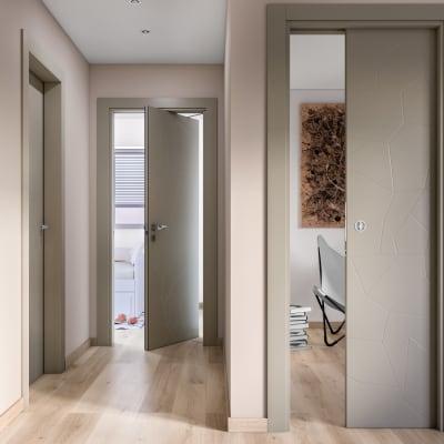 Porta da interno battente The Thing grigio 70 x H 210 cm sx