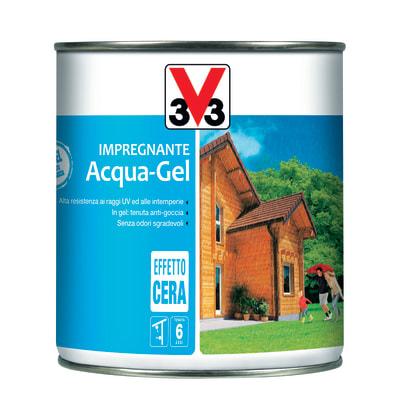 Impregnante ad acqua 6 anni V33 Acqua-Gel castagno scuro cerata 0,75 L