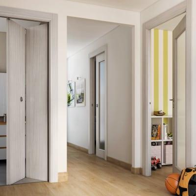 Porta da interno scorrevole Brooklyn Vetro frassino bianco 70 x H 210 cm reversibile